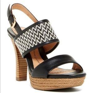 Sofft Sarita Platform Sandals Black Leather Sz 9 M